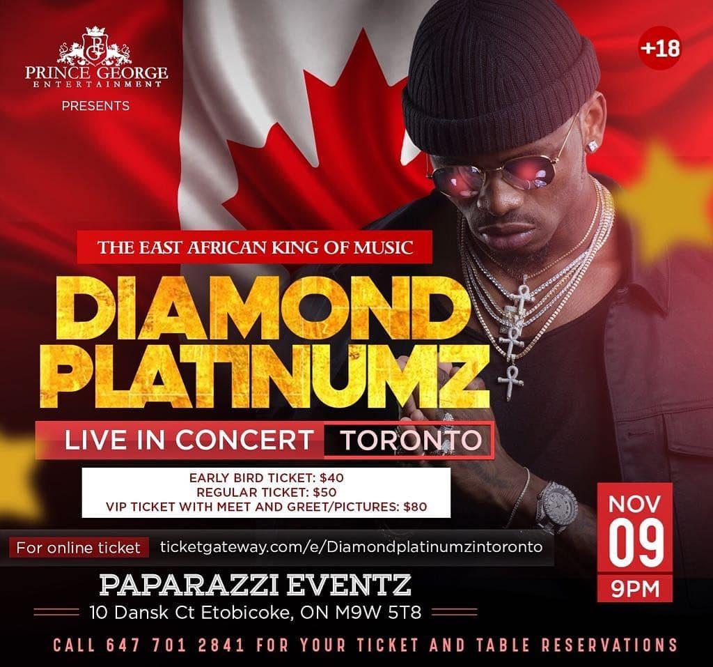 38826860 1909693566002617 5942614826323804160 n 1024x957 Diamond Platnumz in Toronto